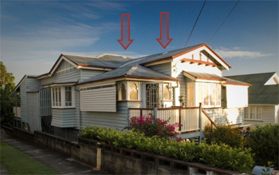 Figure 1 Queenslander with Smoothline Roof Ventilators
